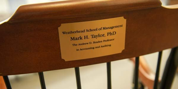 Plaque commerating the chairing of an endowed professorship.