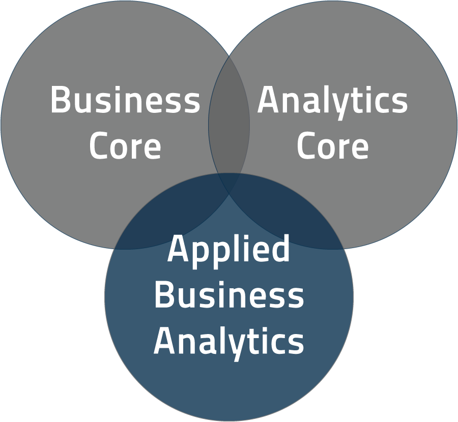 Overlapping circles labeled 'Business Core,' 'Analtyics Core' and 'Applied Business Analytics