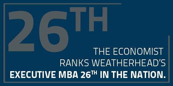 Weatherhead School of Management's Executive MBA (EMBA) is ranked 26th in the nation