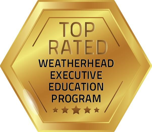 Gold hexagonal badge with text 'Top Rated Weatherhead Executive Education Program' and five stars