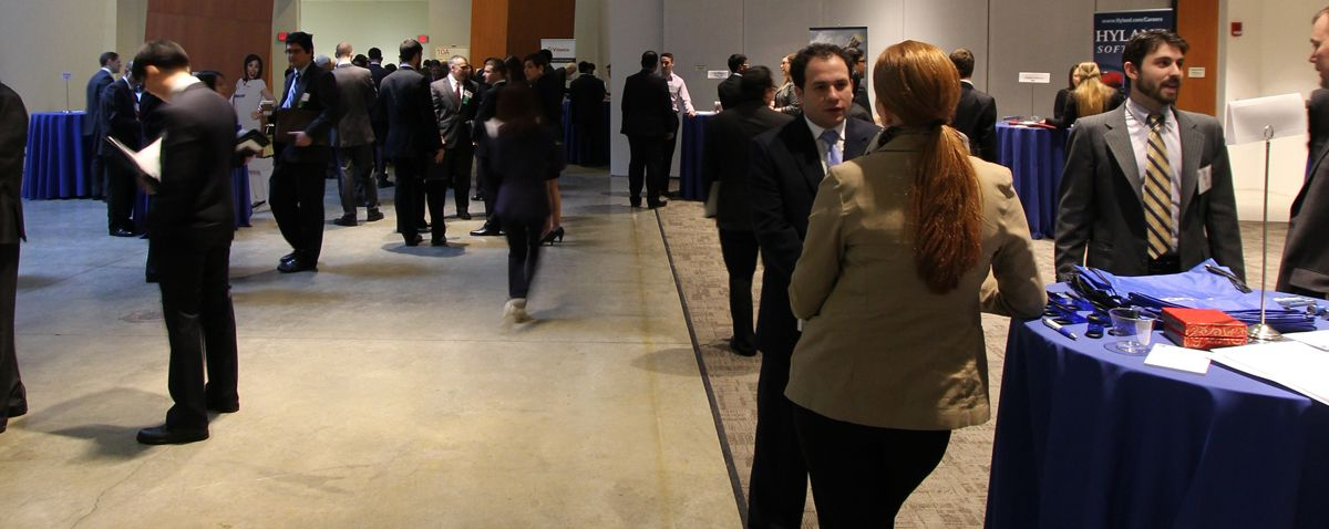 Attendees at a Weatherhead Career Fair