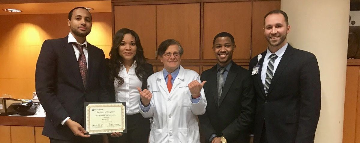 Student's Team Wins Cleveland Clinic Competition - Weatherhead student Amday Wolde (MBA/Med Physiology) applied the critical thinking and presentation skills that he learned at Weatherhead to win first place in the mini-case competition.