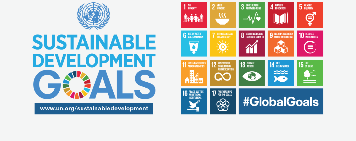 graphic: United Nations Sustainable Development Goals with icons representing each of 17 goals