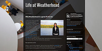 'Life at Weatherhead' blog